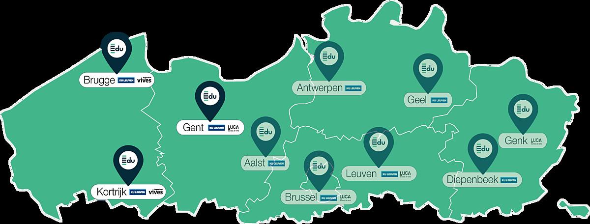 Kaartje lerarenopleiding Edu in Brugge gent kortrijk