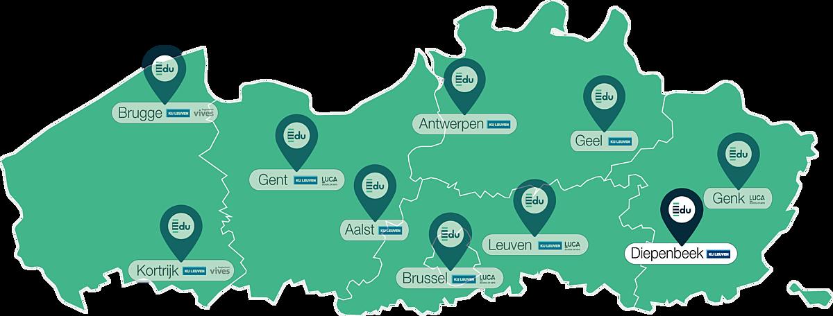 Kaartje lerarenopleiding Edu in Diepenbeek